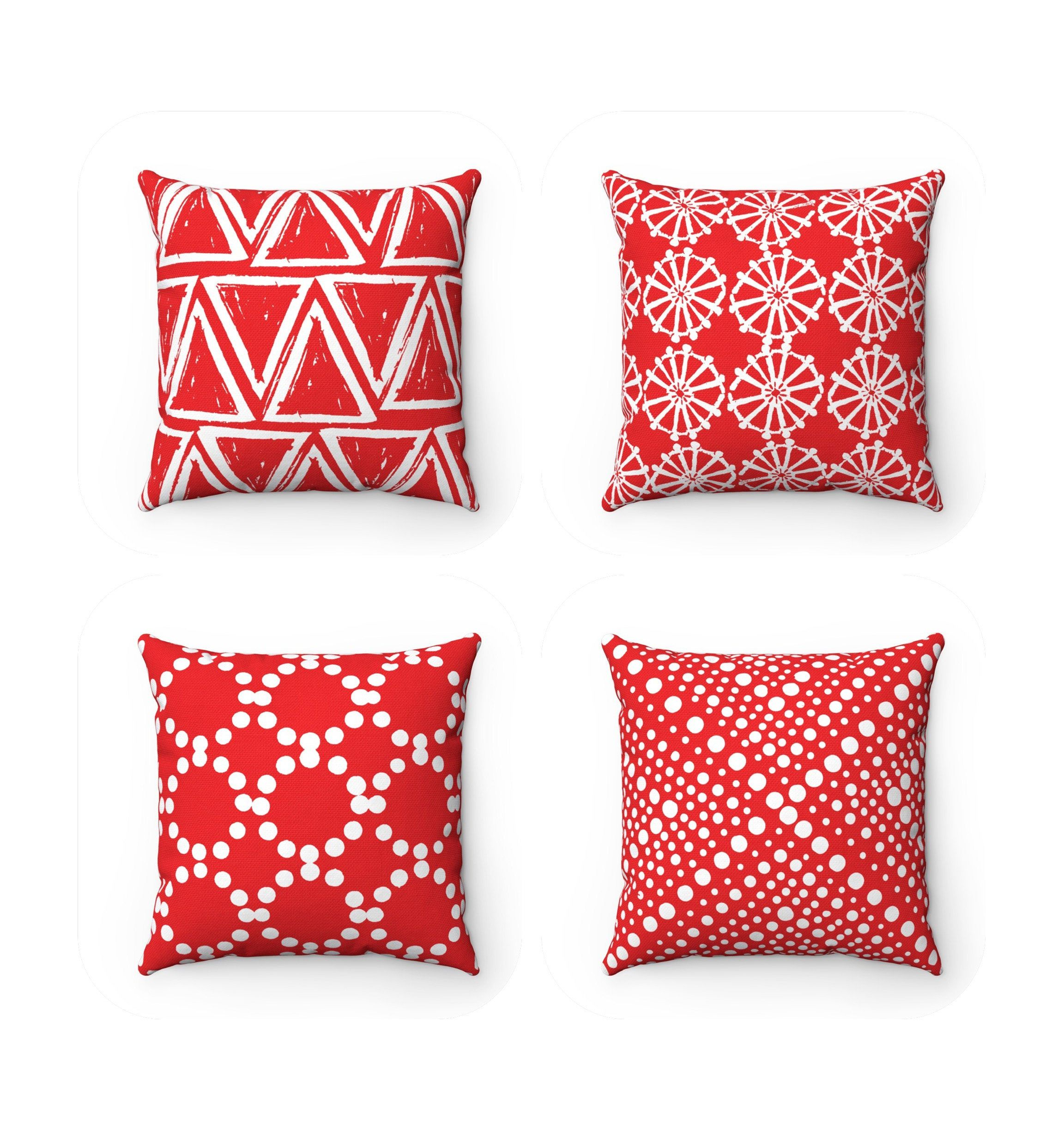 Outdoor Throw Pillow Red Outdoor Pillow Red Patio Cushion Geometric Red Throw Pillows Orange Outdoor Pillows Outdoor Pillows