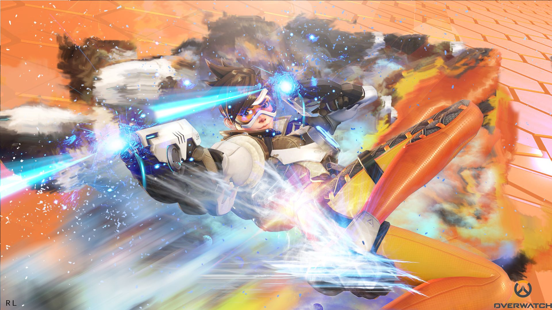 Overwatch Tracer By Rationallife By Rationallife D8638fd Jpg 1920 1080 Overwatch Tracer Overwatch Wallpapers Overwatch