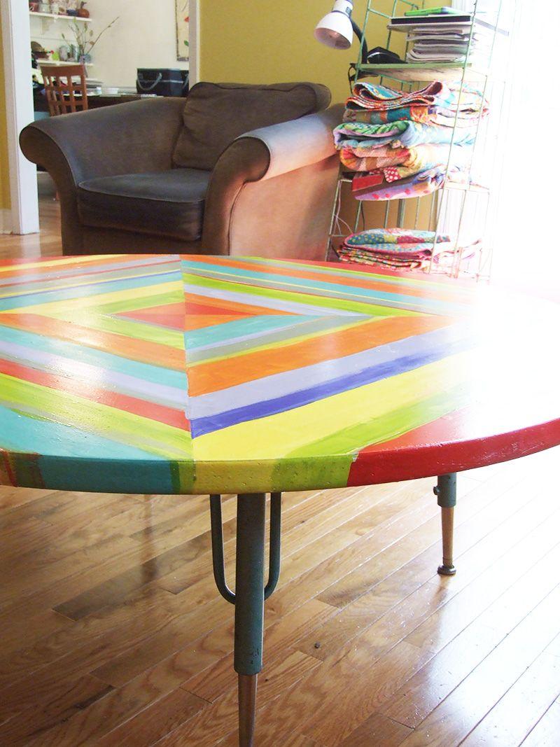 painted children's table by Jennifer Jangles (Blog/artist)