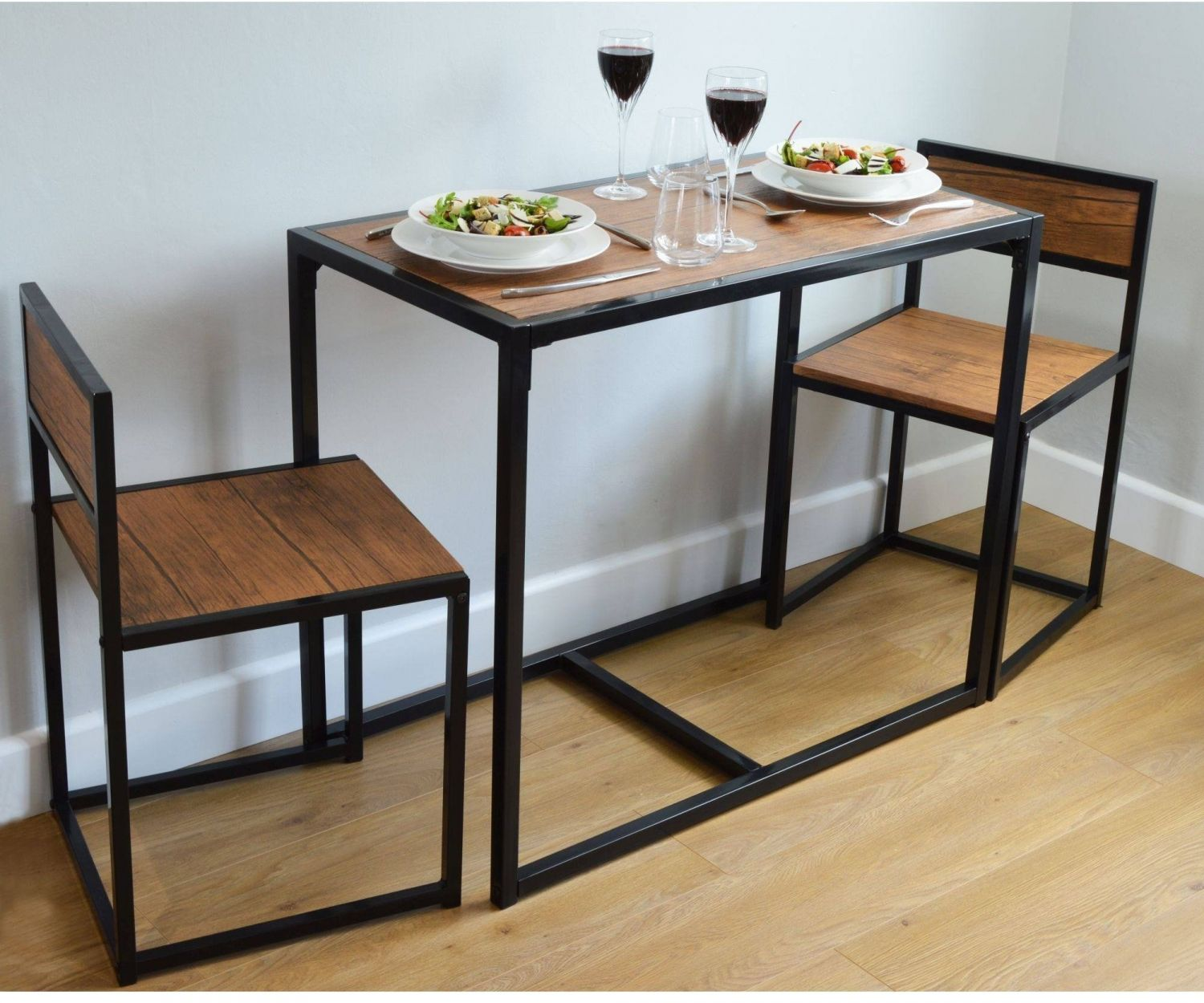 H4home Industrial Dining Table With Chairs Set Space Saving