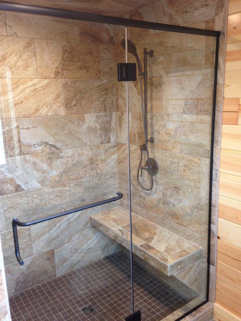 Clear Glass Shower Door With C Pull Towel Bar Combo With Oil Rubbed