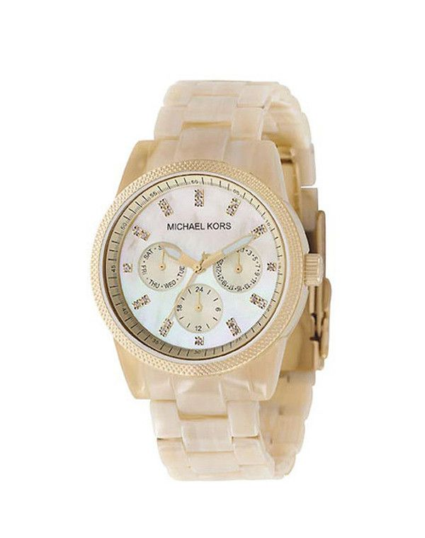 444e918fa7699 Compare Price Michael Kors Womens Resin Horn Jet Set Chronograph Watch  Stainless steel and plastic case with a resin bracelet.