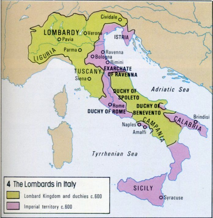 Italy In 600 Showing Lombard And Imperial Territories Mappe