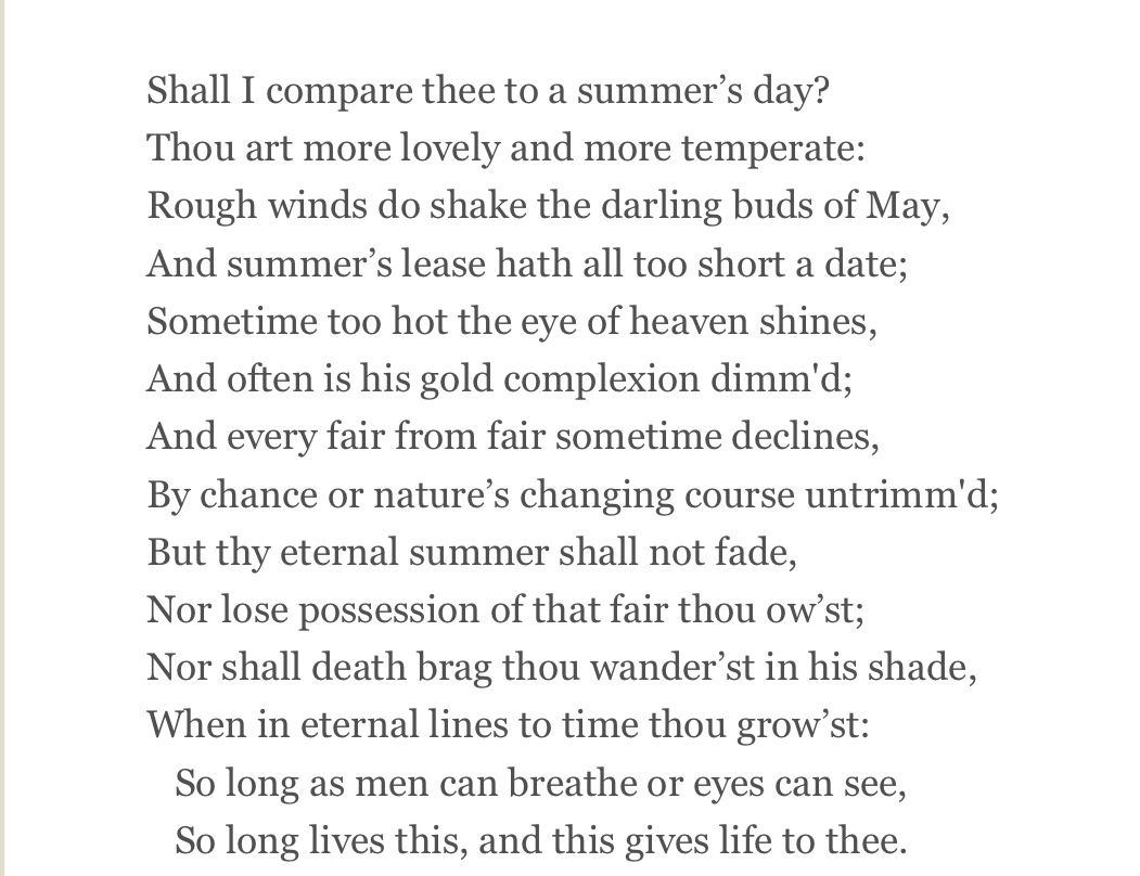 shakespeare sonnet ars poetica te amo william shakespeare sonnet 18