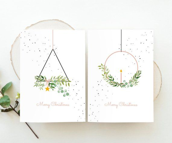Christmas cards set wreaths - modern wreath holiday cards, scandinavian Christmas cards watercolor art, wreath minimalist Christmas cards