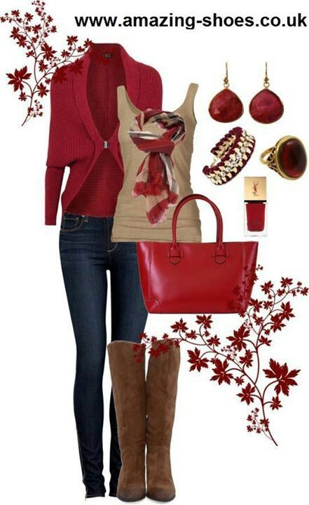 Long maroon cardigan, tan top, jeans, brown boots Holiday Style, Holiday  Outfits - Ropa De Otoño Invierno: Conjuntos De Ropa Otoño Invierno #2 In 2018