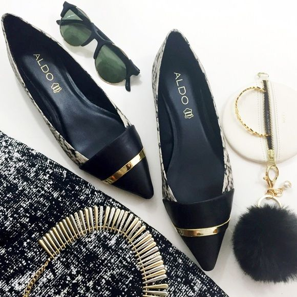 LAST DAY: Python Pointy Cap Toe Flats Size 8 Python printed leather with a black cap toe adorned with a gold metal band. Brand new in box. 01081604 ALDO Shoes Flats & Loafers