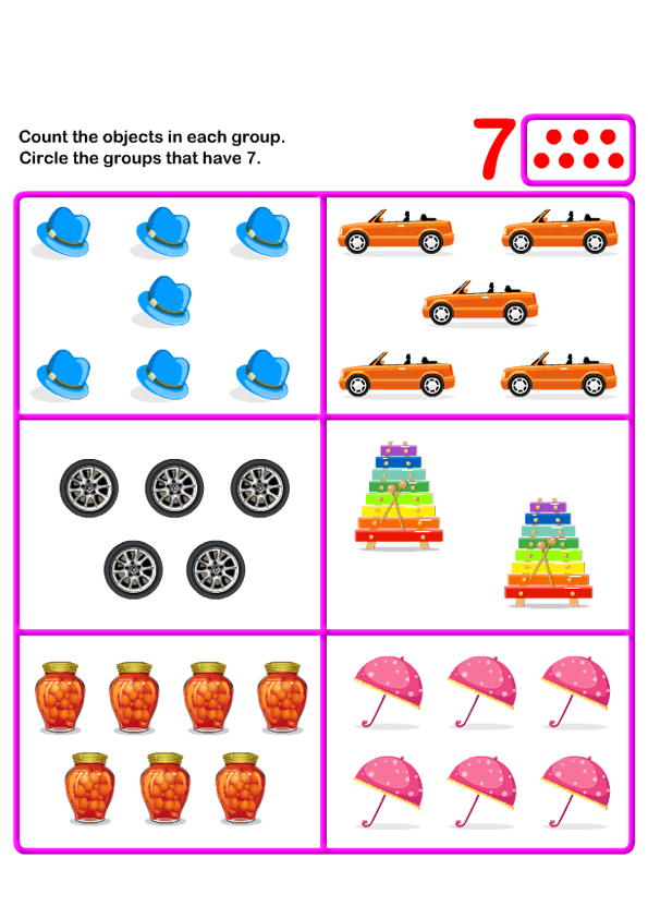 Count Seven | k | Kids Learning Games and Worksheets | Free ...