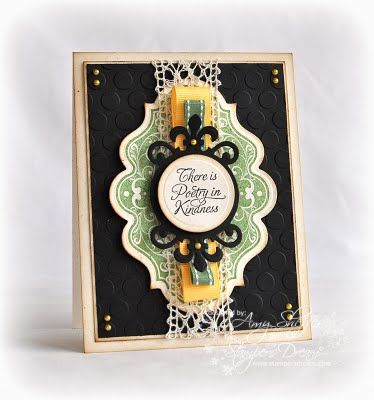 love this design:   Spellbinders Fleur de Lis Doily Accents Shapeabilities, Labels Twenty, Cuttlebug Seeing Spots embossing folder...