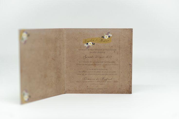 """Faire-part mariage """"Champêtre"""" – Intérieur. 2018"""