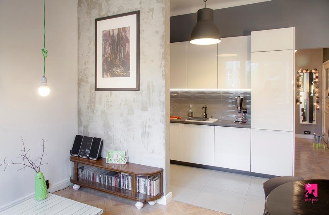 Projekt Salonu Z Aneksem Kuchennym Razem A Jednak Osobno Home Decor Home Kitchen Cabinets