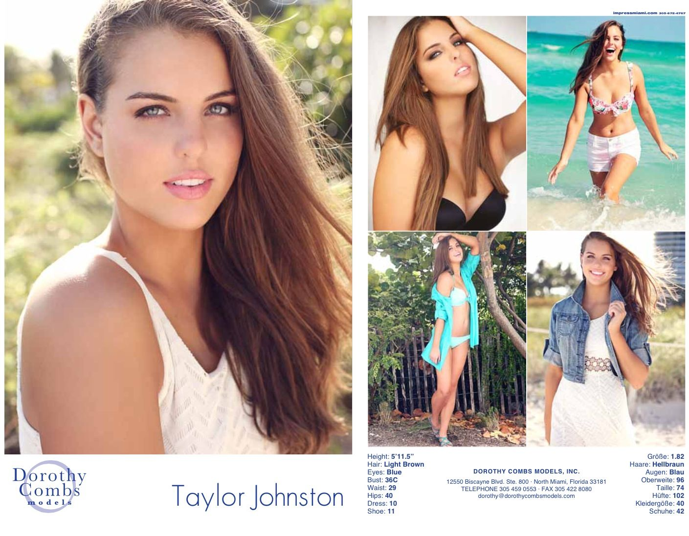 Dorothy Combs Models, Miami, Florida. Taylor's new comp card with ...