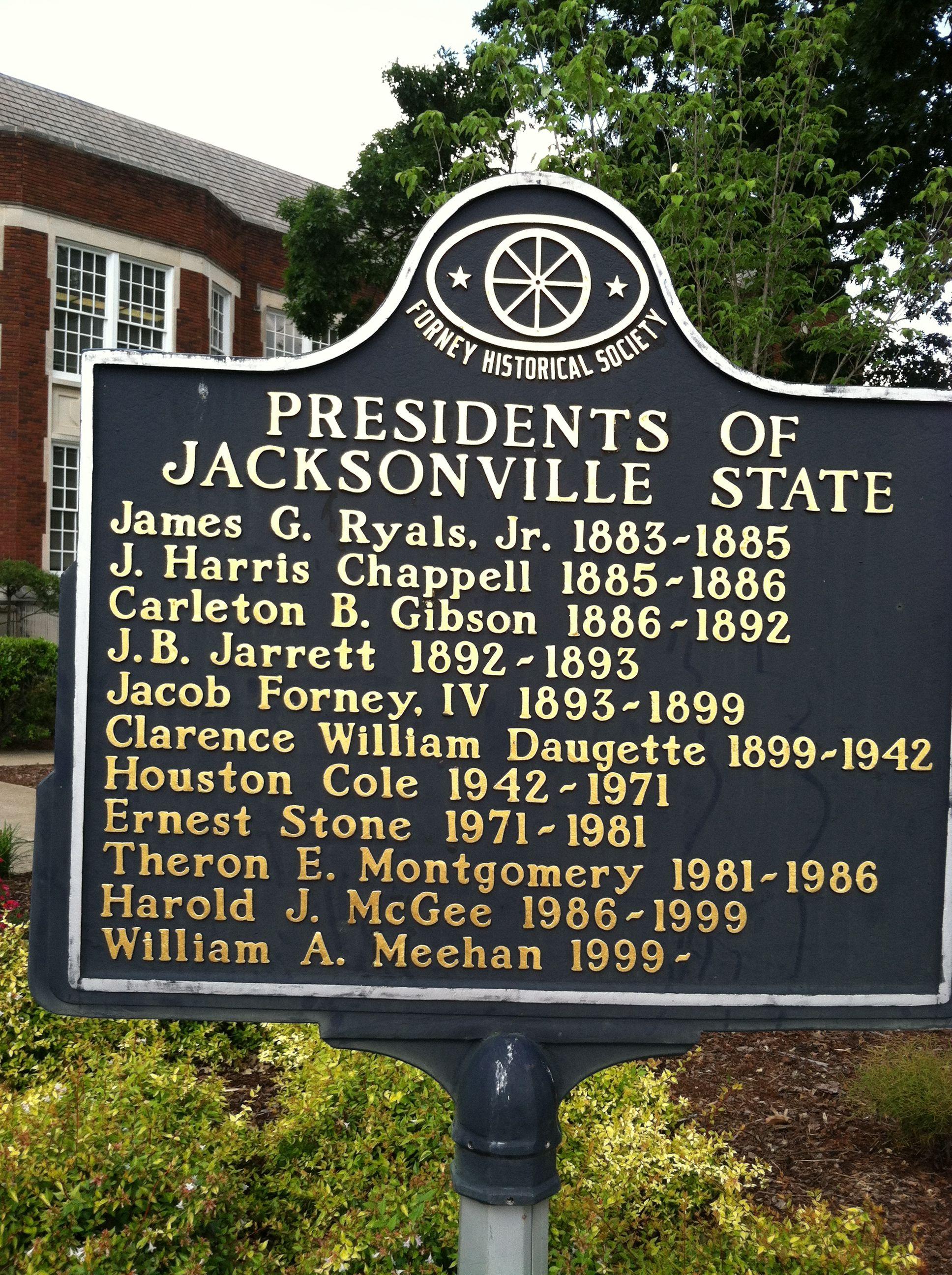 Jacksonville State University Historic Signage In Front Of Bibb