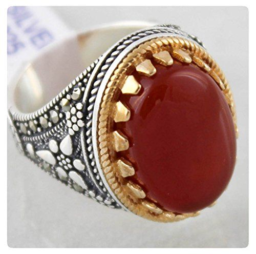 Agate Stone 925 Sterling SILVER Turkish Handmade Luxury Men/'s Ring