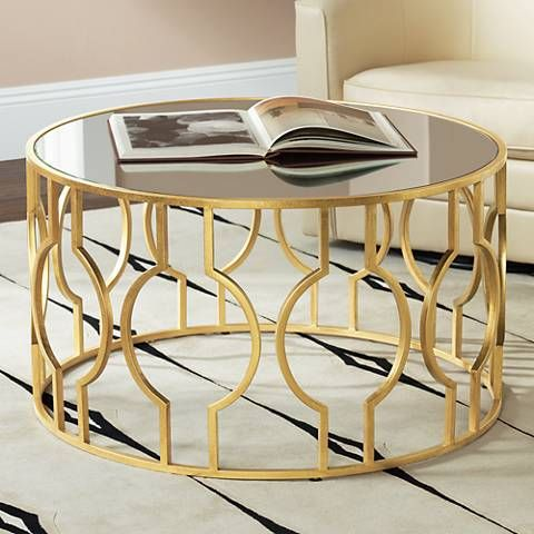 Fara 35 1 2 Wide Gold Leaf Round Coffee Table 8w857 Lamps