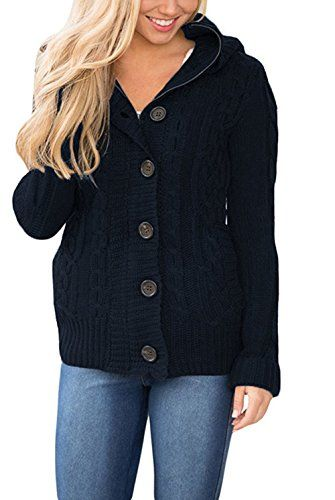 Women's Chunky Hooded Cable Knit Sweaters Cardigan Fleece Lined ...