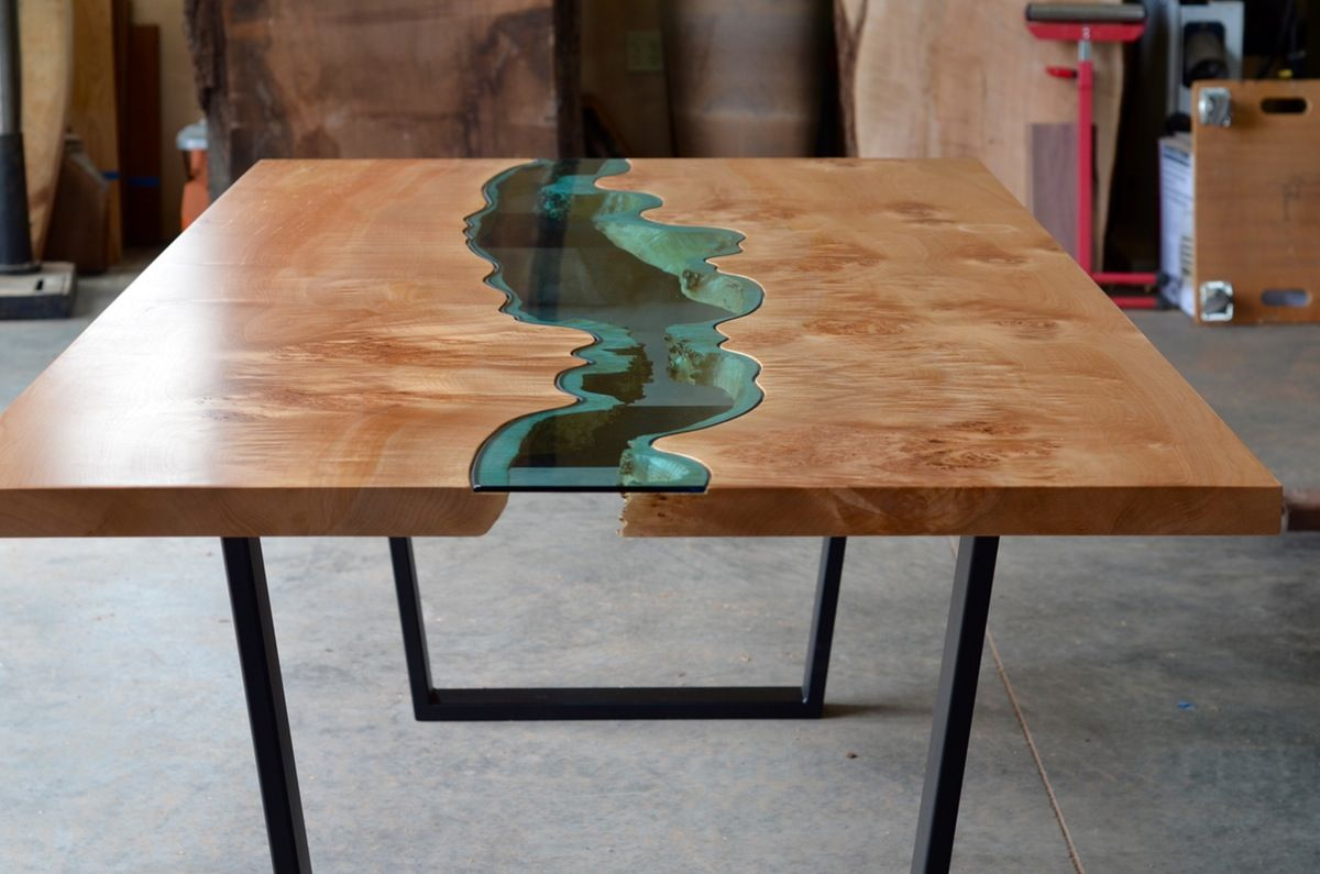 A Lovely River Dining Table Rare Super Figured Burl Maple Wood