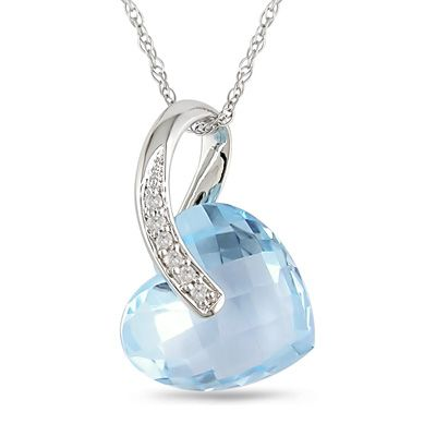 Zales 12.0mm Checkerboard Blue Topaz and Diamond Accent Pendant in Sterling Silver TZapwF