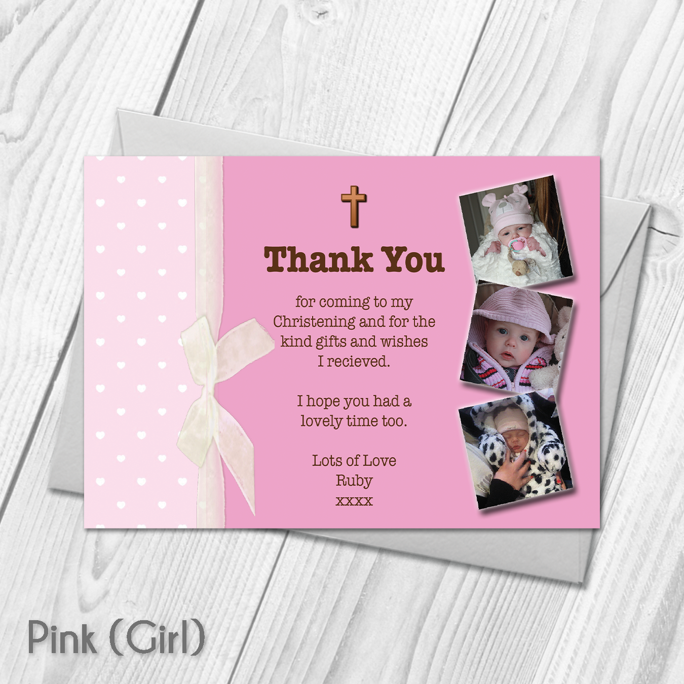 Personalised Photo Girl Or Boy Christening Baptism Thank You Cards