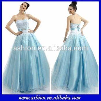 ED-2200 Aqua blue tulle princess ball gown indian evening dress korean style
