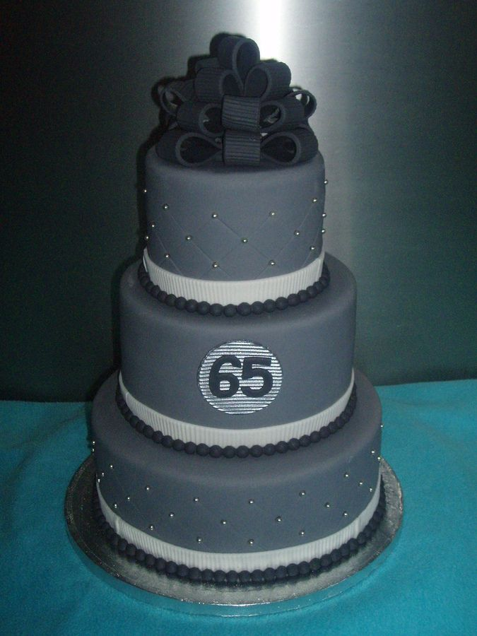 I Like The Grey And Black Bow 65th Birthday Cake Ideas For Men