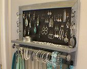You Get To Pick The Stain, Mesh and Hook Color, Scroll Trim Series Wall Mounted Jewelry Organizer with Bracelet Bar, Necklace Holder