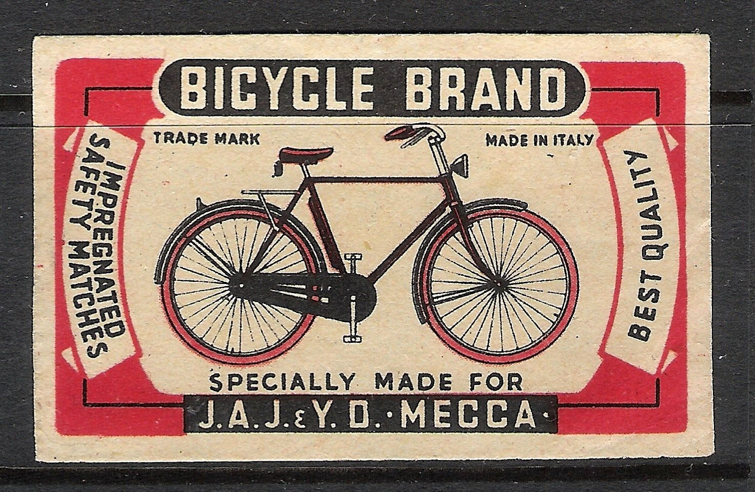 Old Italian Matchbox Label Box Size Italy for Mecca Bicycle Brand | eBay