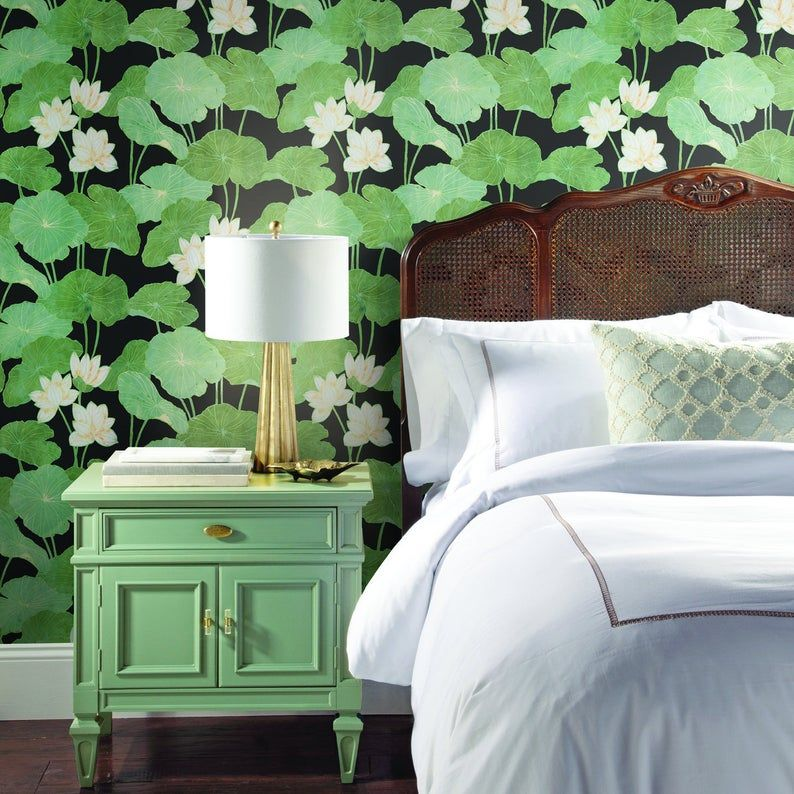 Roommates Lily Pads Peel And Stick Black And Green Wallpaper Etsy Home Decor Peel And Stick Wallpaper Removable Wallpaper