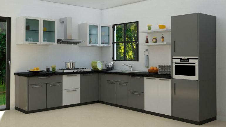 cocina forma ele muebles grises - Cocinas En Ele