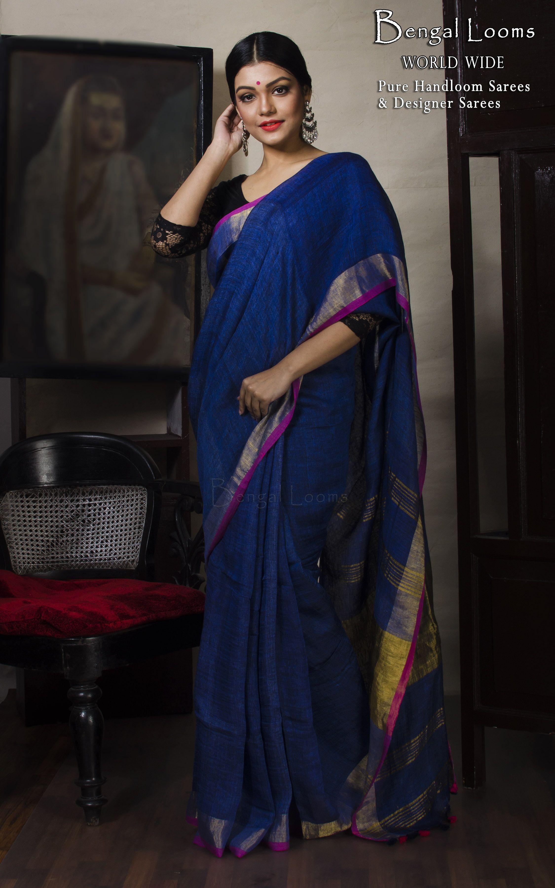 215b22c18cf60a Zari Border Linen Saree in Dark Blue