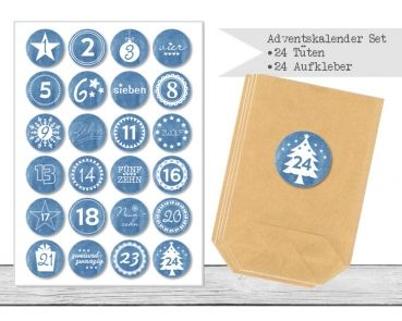 "www.papierbuedchen.de - DIY Adventskalender \"" Tüten & Aufkleber \"" (K21)"