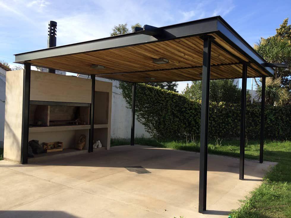 Quincho garage mpg casas de estilo por development for Casa minimalista con quincho