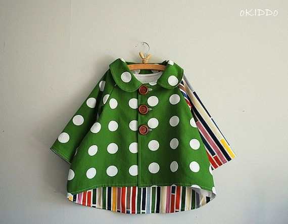 Girls Spring Summer Tulip Bubble Coat Jacket in Green and White - Sizes from 2T to 6T