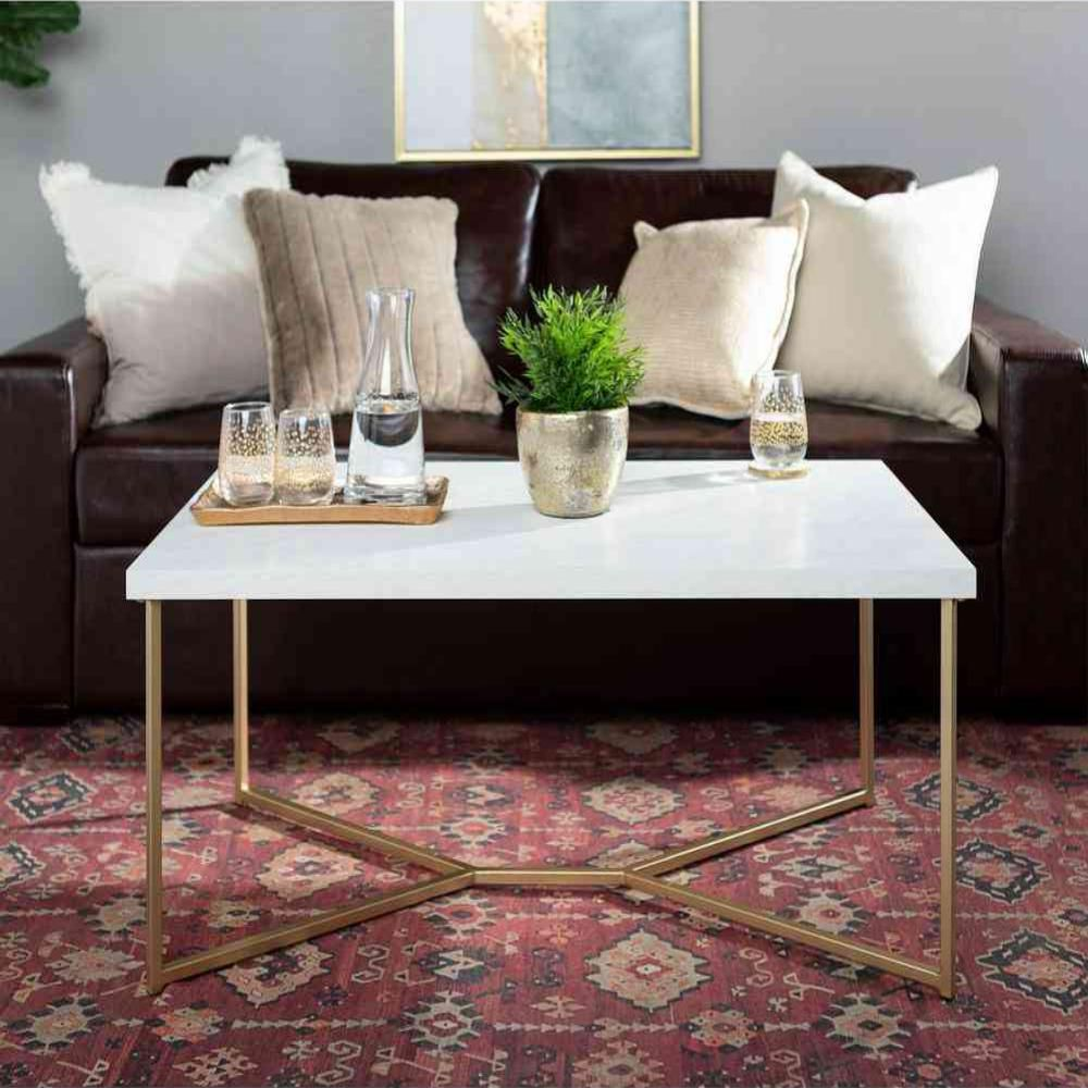 Walker Edison Furniture Company 42 In White Gold Large Rectangle Faux Marble Coffee Table Hdf42luxwmg The Home Depot Coffee Table Gold Coffee Table Rectangle Coffee Table Wood [ 1000 x 1000 Pixel ]