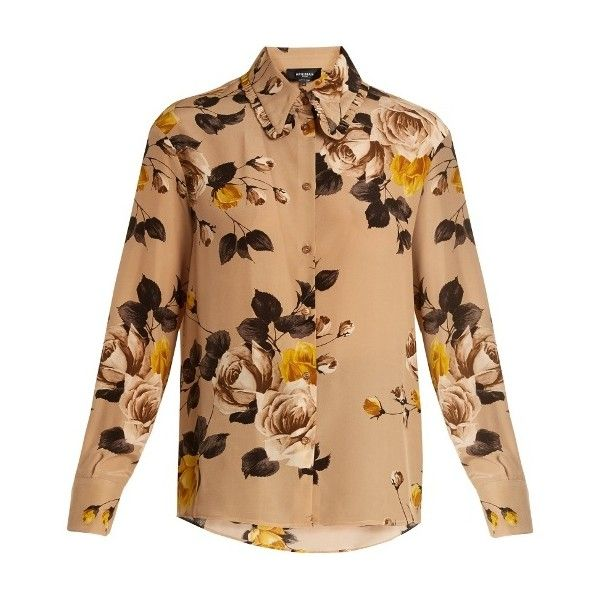 64a1cb8939f7f Rochas Floral-print silk shirt ( 710) ❤ liked on Polyvore featuring tops