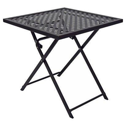 Woven Metal Folding Patio Table Threshold