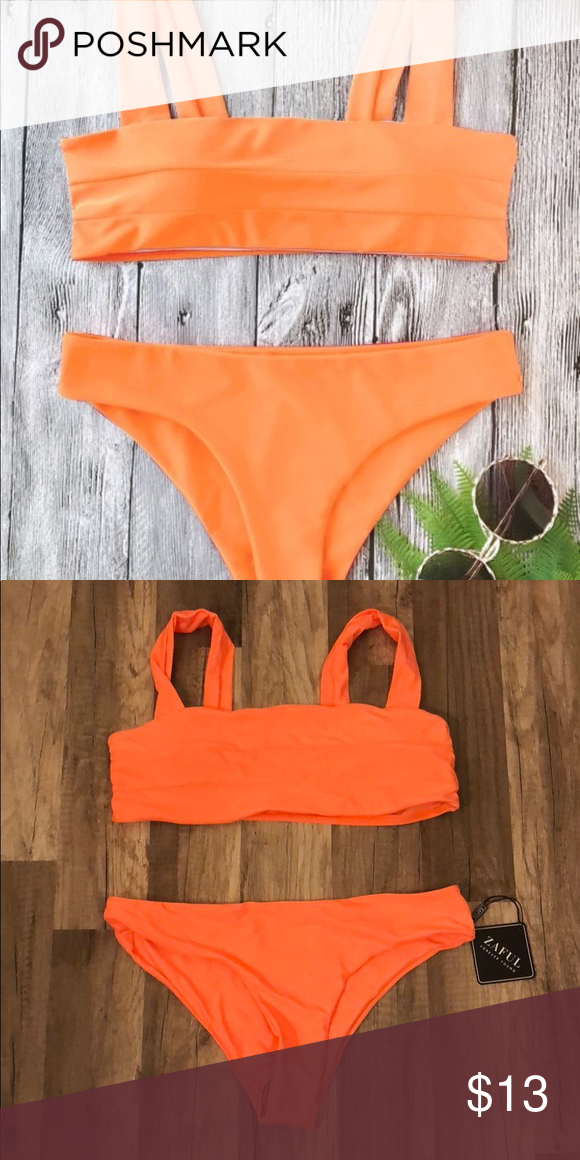 61ffcf87f5a Padded Wide Straps Bandeau Bikini Set BRAND NEW NEVER BEEN WORN. Neon orange.  Large top and bottom. Zaful Swim Bikinis