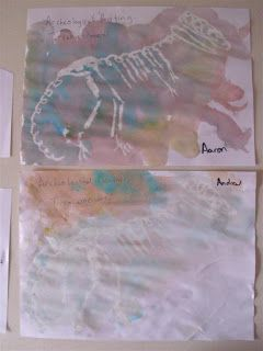White crayon dinosaur art  Outline the template and let the kids be archaeologists and uncover the bones by watercolor painting  Or use white crayons on dinosaur rubbing plates then watercolor. #dinosaurpics