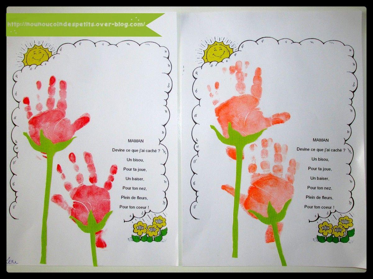 fleur empreinte de main pour maman ou mamie id es. Black Bedroom Furniture Sets. Home Design Ideas