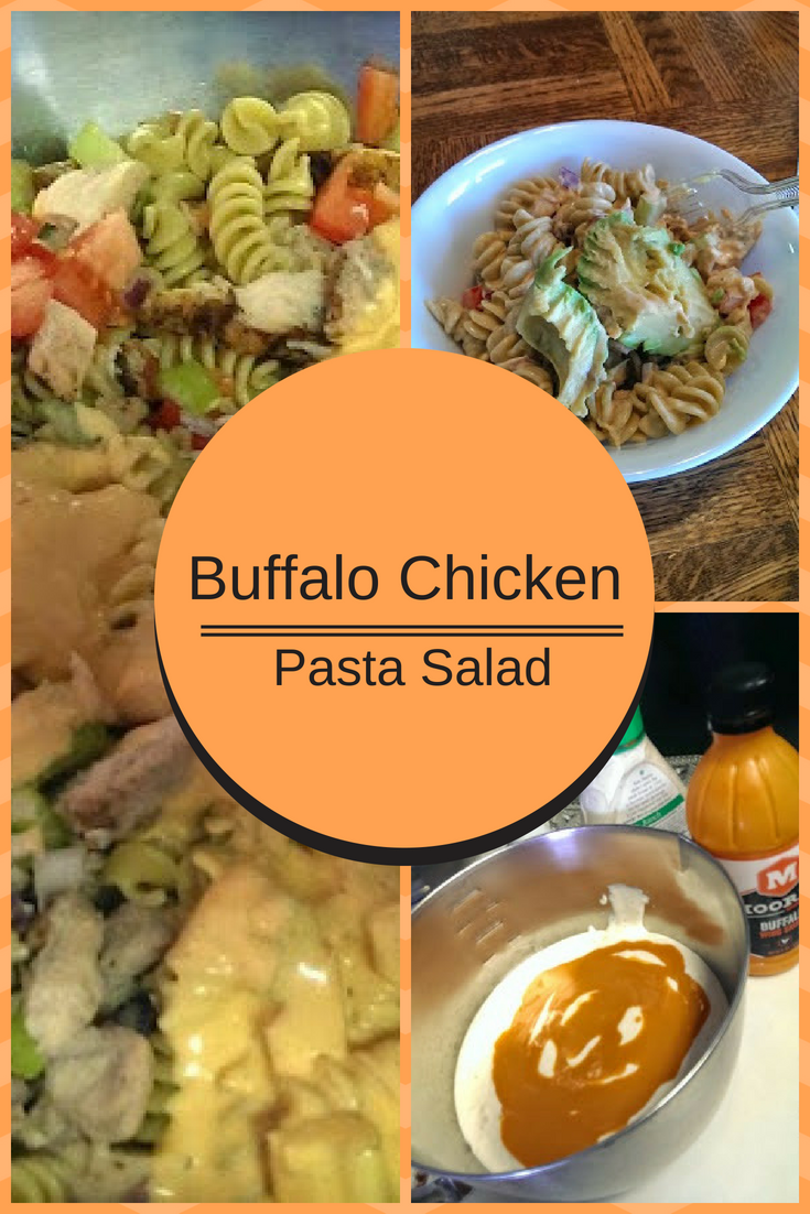 Delicious buffalo chicken pasta salad recipe. Perfect, easy dinner for summer evenings. #buffalochickenpastasalad