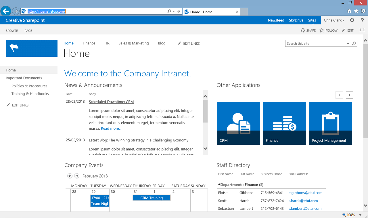 Buttons on right. Scrolling news. Sharepoint, Sharepoint