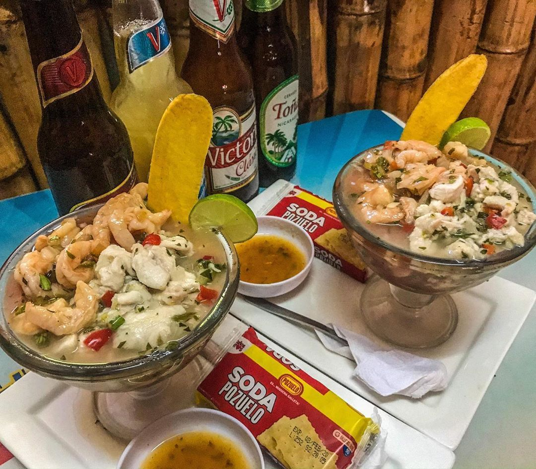 Fromnicaragua Com On Instagram Ceviche Mixto Con Sus Respectivas Heladas Feliz Fin De Semana Spicy Lunch Comidanica Food Chicken Meat