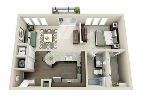 50 Plans en 3D du0027appartement avec 1 chambres Apartments, Tiny - maison en 3d gratuit