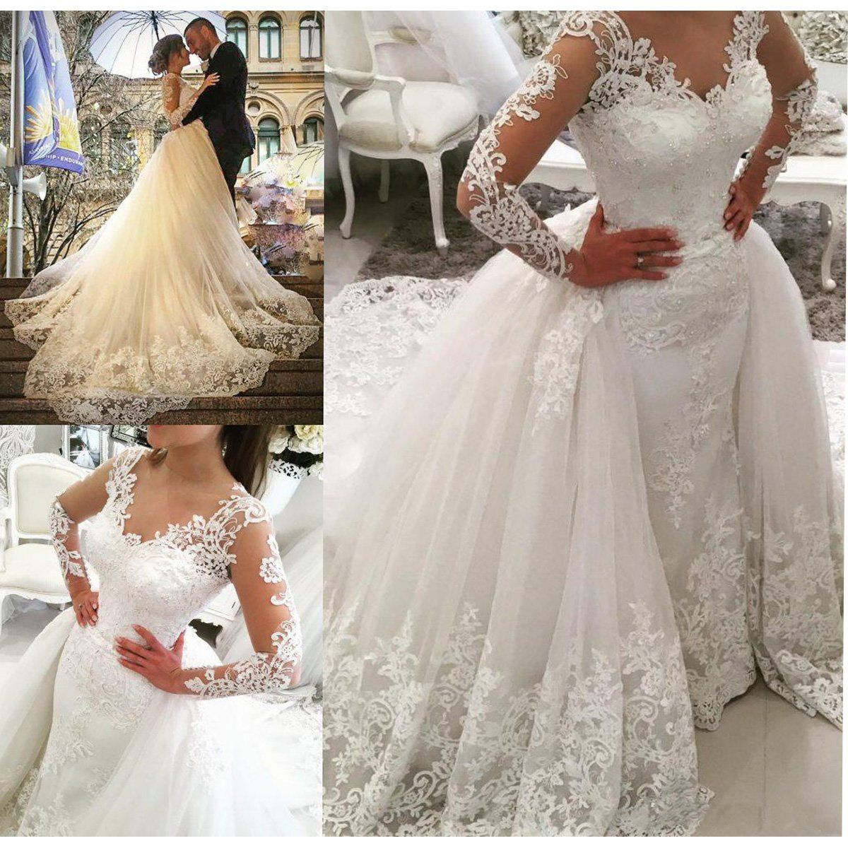 Fair Lady Illusion Vintage Lace Long Sleeve Wedding Dress