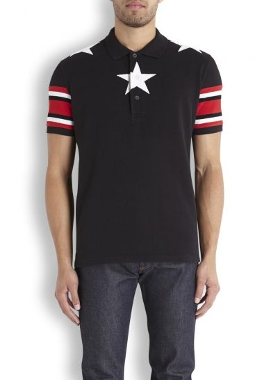d55b2c324 Black printed piqué cotton polo shirt - Men | Designer Polo Shrt ...