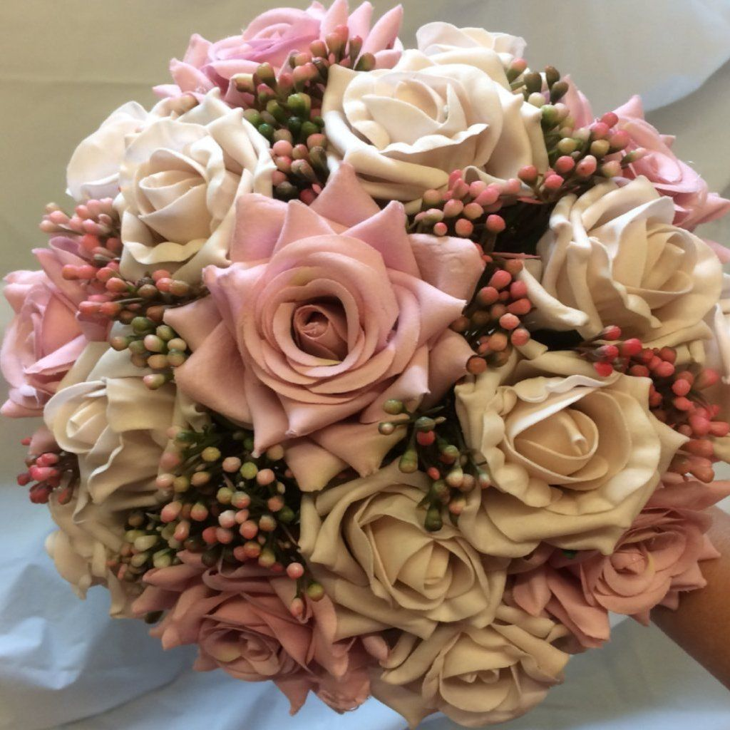 Artificial Wedding Bouquet Of Dusky Pink Rose Flowers Rose Flowers