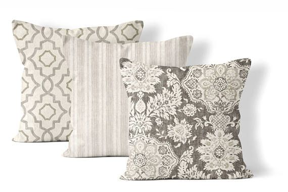 Matching Throw Pillow Set Choose Any 3 Combination Coordinating Covers 22x22 In Neutral Gray Taupe Cream And Tan