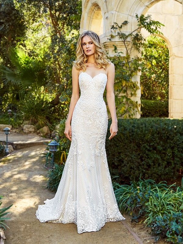 Moonlight Couture H1357 Classic Strapless Sweetheart Neck Mermaid Lace Wedding Dress Wi Wedding Dresses Lace Mermaid Wedding Dress Strapless Lace Wedding Dress