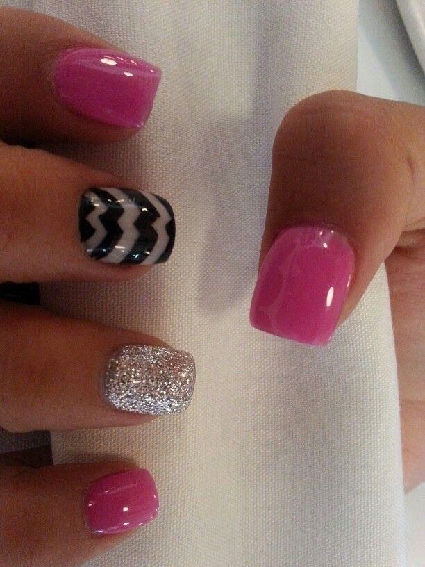 Diseno En Rosa Plata Y Negro Unas Nails Nails Nail Designs Y