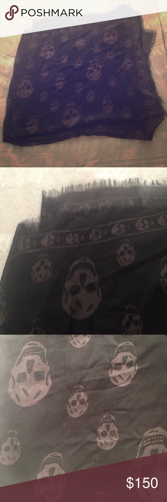Alexander McQueen skull scarf Never wear, tag is off , no defects ! No label, no tag, but it is 100% authentic!!! Bought at Nordstrom Rack! Made with silk and modal I guess ! Alexander McQueen Accessories Scarves & Wraps